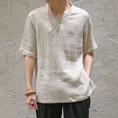 Mens Vintage Linen Solid Color Short Sleeve V-neck Loose Casual T Shirts is best and cheap on Newchic. Loose Shirts, Henley Shirts, Casual T Shirts, Cool T Shirts, Shirt Collar Styles, Color Shorts, Kurta Designs, Mens Clothing Styles, Men's Clothing
