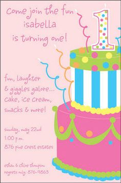 Pink Cake Invitations