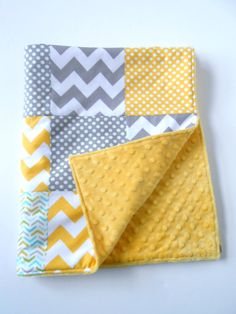 Minky Baby Patchwork Quilt Blanket Riley Blake Chevrons and Dots Michael Miller Les Amis Yellow Gray