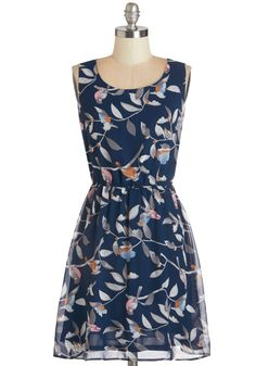 Friends of a Feather Dress. For an overdue dinner date, you and the girls choose your best ensembles - thats why this navy dress was an easy choice for you! #blue #modcloth