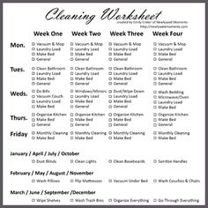 Housekeeping Schedule  Housekeeping Schedule Clean House And Box