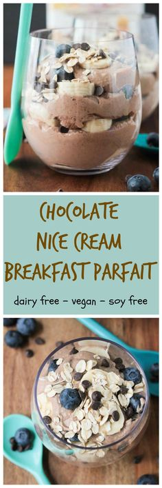 Chocolate Nice Cream Breakfast Parfait - ice cream that's healthy enough for breakfast! Made from real whole foods and with added plant based protein, this nutritious indulgent treat makes the perfect dairy free breakfast, post workout meal or even a dessert! Vegan and gluten free!