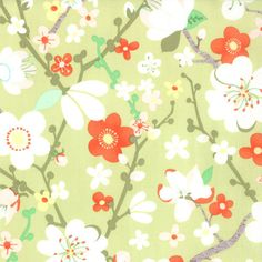 NEW- Kate Spain for Moda Fabric -Good Fortune Collection-Tea -Metro Floral Sakura Green. $8.25, via Etsy.