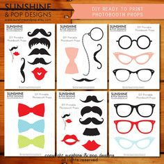 INSTANT DOWNLOAD - DIY Mustache Photo booth Props - Printable Lips Glasses Ready to Print Pdf - Moustache party printable photobooth