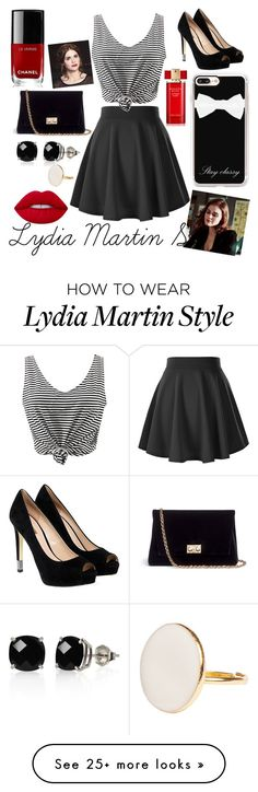 """""""Lydia Martin Set"""" by xdylanobriengirlx on Polyvore featuring WithChic, Chanel, GUESS, Rodo, Casetify, Belk & Co., Lime Crime and Estée Lauder"""
