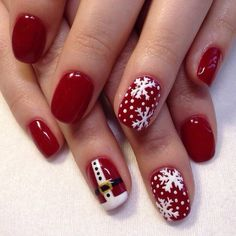 Beautiful new year's nail, Beautiful winter nails, Christmas shellac, New Year nails 2017, New year nails ideas 2017, New years nails, Red and white nails, Red gel polish