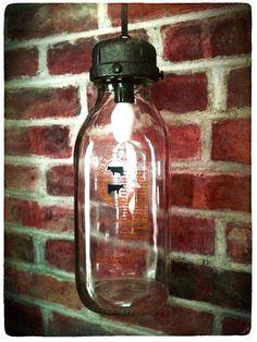 Recycled Milk Bottle Jug Hanging Pendant Light