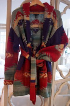 Ralph Lauren Hand Knit Southwestern Indian Blanket Aztec Sweater Coat Lar EXC | eBay