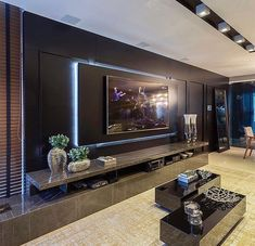 Chic and Modern TV wall mount ideas. - Since many people including your family enjoy watching TV, you need to consider the best place to install it. Here are 15 best TV wall mount ideas for any place including your living room. Living Room Home Theater, Living Room Tv Unit, Luxury Living Room, Room Design, Living Room Theaters, Tv Wall Design, House Interior, Living Room Design Modern, Living Room Tv Wall