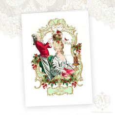 Marie Antoinette Christmas Card Holly Red Berries by mulberrymuse,