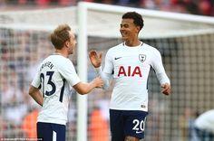 Dele Alli and Christian Eriksen celebrate after the Denmark international doubled Tottenham's lead over Juventus