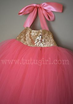 Coral and Gold Sequin Flower Girl Tutu Dress