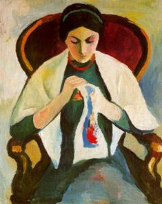 Woman Embroidering in an Armchair Portrait of the Artist's Wife: 1909 August Macke German Expressionist Painter 1887 - 1914 August Macke, Wassily Kandinsky, Cavalier Bleu, Maurice De Vlaminck, Blue Rider, Expressionist Artists, Sewing Art, Oil Painting Reproductions, Fine Art
