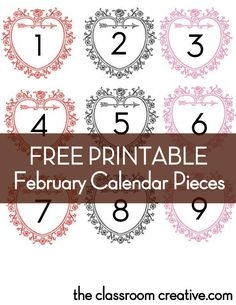 Free Printable February Calendar Pieces