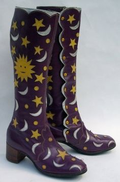 LOL * Purple leather boots with appliequed moons, stars, and suns, c. 1968 by Chelsea Cobbler. Groovy, baby!!