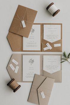 Hochzeitseinladung Pocket Fold Minimalistisch Botanical - New Ideas Classic Wedding Stationery, Botanical Wedding Stationery, Wedding Stationery Sets, Minimalist Invitation, Minimalist Wedding Invitations, Pocket Wedding Invitations, Invitation Card Design, Invitation Cards, Invites