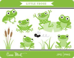 Frog Clipart , frogs clip art, lilypads, frogs, cat tail, cute ...
