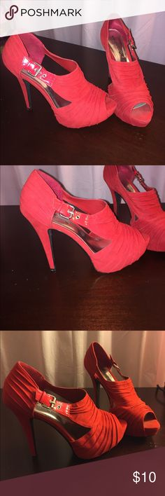 Body central red suede shoes Size 9 body central red suede heels. Slightly worn but have a lot of life left in them! Not in original box. Body Central Shoes Heels