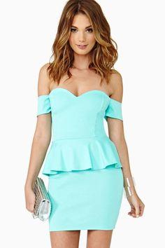 Elle Peplum Dress in Mint by Nasty Gal