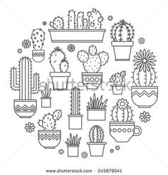 linear design, potted cactus. elements of a corporate logo - stock vector