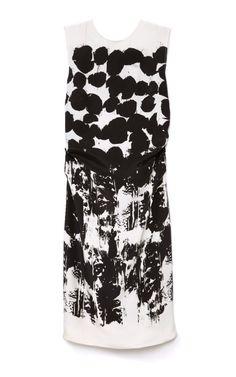 Graphic painterly print dress; black & white pattern fashion // Cedric Charlier