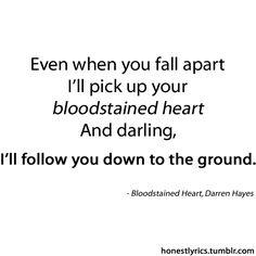 DARREN HAYES - BLOODSTAINED HEART LYRICS