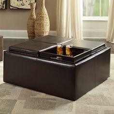 Inspire Q Coffee Table Ottoman with 4 Trays in Faux Leather