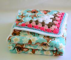 Blue deer baby blanket crochet baby blanket by ValkinThreads2 #girlsroomdecor #nurserydecor #crochetblanket