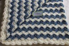 Baby Boy Blanket - Crochet baby blanket - Crochet boy blanket Crib size Country Blue Shell Waves - B Baby Boy Crochet Blanket, Baby Boy Blankets, Crochet Baby, Irish Crochet, Crochet Blankets, Baby Afghans, Free Crochet, Afghan Crochet Patterns, Baby Patterns