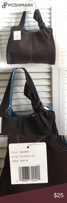"""NWT Liz Claiborne Bow Tie Purse Chocolate Blue Pnk New With Tags. Chocolate brown with blue stitching. Two sides inside with zippered section in the middle. Inside is pink. 12"""" wide x 10"""" tall Without straps. 17"""" tall with straps. Liz Claiborne Bags"""