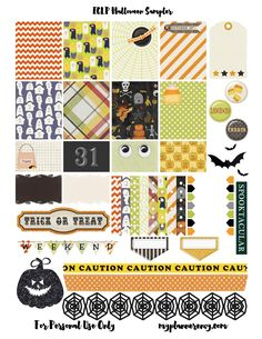 Free Printable Halloween Sampler Planner Stickers  {PDF, JPG and Studio3.  For The Happy Planner and Erin Condren} from myplannerenvy.com