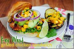 Key West grilled chicken sandwich with mango salsa