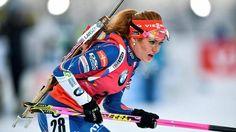 Gabriela Koukalová při sprintu v Östersundu.