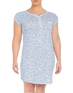 Miss Elaine Plus Patterned Nightgown Women's Blue 2X