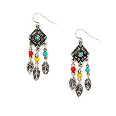 Antique Silver and Turquoise Diamond with Wood Beads and Leaves Drop Earrings