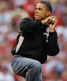 Barack Obama throws out the first pitch while wearing the jacket of his favorite baseball team -- the Chicago White Sox.