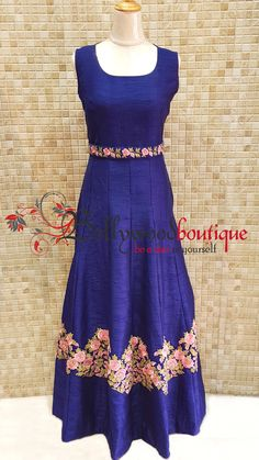 Product Description : An ideal dress to glam you up at any occasion. Floor length dress in thread embroidered pattern with embroidered sleeves. Party Wear Dresses, Summer Dresses, Floor Length Dresses, Exclusive Collection, Bollywood, Gowns, Silk, Boutique, Lady