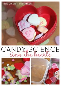 "Candy Heart ""Sink the Boat"" Science Sensory Activity (from Little Bins for Little Hands)"