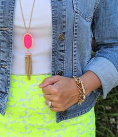 Love the neon with denim! And a little @kendra_scott  never hurt anyone! ;) #neon