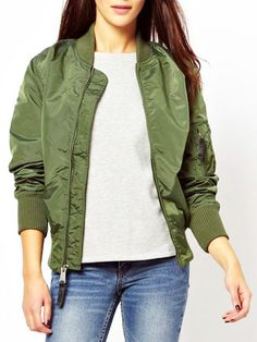 Get this modern take on the classic green jacket. Military green zip up long sleeve bomber jacket . Get it before it's gone. Shop now.