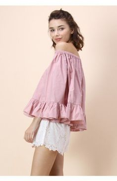 Flowy Delight Off-shoulder Top in Pink - Tops - Retro, Indie and Unique Fashion