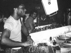 In the booth at Paradise Garage.