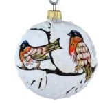 """Birds on a Branch"" Glass Christmas Ball."