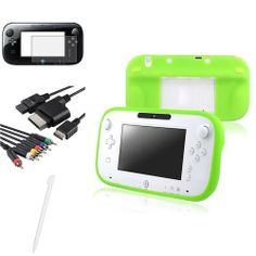 INSTEN 2x Green Gamepad Skin Case 4in1 Cable 2x Matte Film White Stylus For WiiU Wii U Review Buy Now