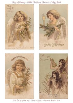 Wings of Whimsy: Gilded Christmas Cherubs - free for personal use