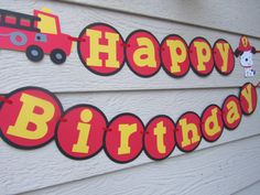 Fire Truck Dalmation Birthday Banner Can Personalize With Name. $26.99, via Etsy.