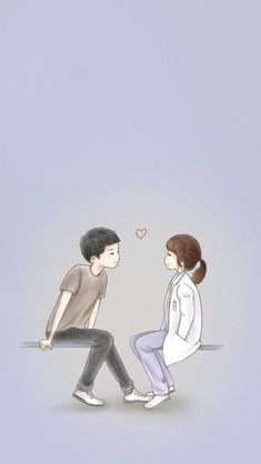 Wallpaper Smartphone Kapten Yo Si Jin dan Dr. Kang Moyeon Cartoon