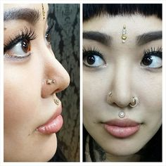 Alisha's healed philtrum and nostril piercings with gorgeous jewelry from at ♡ (at Sacred Tattoo NYC) Third Eye Piercing, Philtrum Piercing, Double Nose Piercing, Men's Piercings, Medusa Piercing, Body Piercing, Dimple Piercing, Nose Piercing Jewelry, Eye Dermal