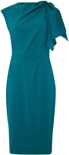 Roksanda Ilincic Blue Teal Asymmetric Draped Shoulder Fitted Dress