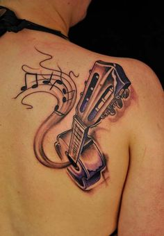 Guitar tattoo designs can exbhits love towards music. In this article you can find 10 amazing guitar tattoo designs which are definitely inspire you. Acoustic Guitar Tattoo, Guitar Tattoo Design, Music Tattoo Designs, Music Tattoos, Tattoo Designs Men, New Tattoos, Body Art Tattoos, Cool Tattoos, Ukulele Tattoo